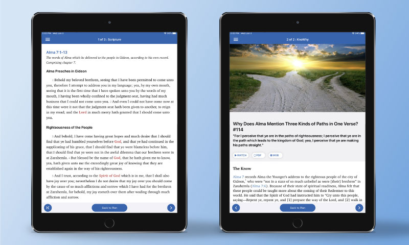Screenshots from ScripturePlus of reading assignments such as scriptures and knowhys.